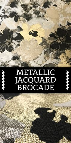 Metallic Jacquard Brocade with Floral Pattern in Gold, Black and White