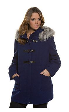Faux Fur Trim Hooded Wool Feel Coat - slightly A-line style. Detachable hood with faux fur trim and concealed zipper with faux leather closures. 2 patch pockets and long sleeves. Fully lined with inside pocket. Wool Coat, Fur Coat, Fur Trim, Faux Fur, Hoods, Casual, Plus Size, My Style, Long Sleeve