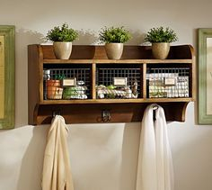 Shop Pottery Barn for expertly crafted small entryway furniture. Find stylish and durable mudroom furniture including hall trees, coat racks, shelving and more. Wall Shelf With Hooks, Wooden Wall Shelves, Wooden Walls, Floating Shelves, Wall Shelving, Floating Wall, Cubbies, Storage Shelves, Storage Hooks