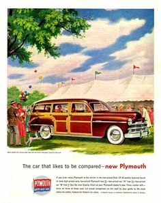 1949 AD Plymouth station wagon-wooden body ORIGINAL ADVERTISING