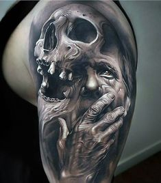 amazing face and skull tattoo