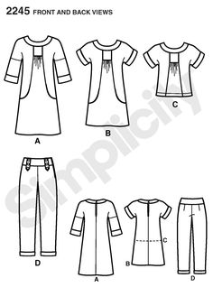 Simplicity pattern 2245: Misses' Sportswear Portfolio dress, tunic  pants