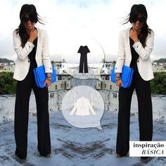 O máximo da sofisticação com o estilo: macacão preto chic + blazer desestruturado. #mybasiclook #macacãoparaty #casacoestolcomo