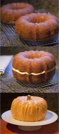 Make a pumpkin cake from 2 bundt cakes