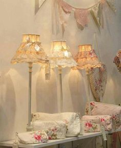 I adore the look of shabby chic home decorations as seen in this photo. I love vintage, rustic and modern yet trendy shabby chic decorative accents as they make a home beautiful. Shabby Chic Lighting, Shabby Chic Lamp Shades, Rustic Lamp Shades, Vintage Shabby Chic, Shabby Chic Style, Shabby Chic Decor, Vintage Decor, Shabby Chic Bedrooms, Shabby Chic Homes