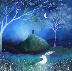 Moonlite And Hare Painting by Amanda Clark - Moonlite And Hare Fine Art Prints and Posters for Sale