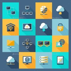 Network Icons Flat   Download: http://graphicriver.net/item/network-icons-flat/10314311?ref=ksioks