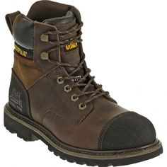 90368 Caterpillar Men's Traction EH Safety Boots - Dark Brown www.bootbay.com