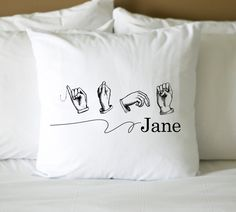 For C: Sign language personalized name Digital Image Transfer To Aprons Pillows Tshirts totes style 157. $3.00, via Etsy.