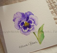 Items similar to Original Watercolor Painting Art Pansy Viola Flower Garden Study by Michelle L. Palmer on Etsy Watercolor Flowers Tutorial, Easy Watercolor, Watercolor Sketch, Watercolor Cards, Floral Watercolor, Watercolor Painting Techniques, Watercolour Painting, Painting Art, Flower Garden Pictures