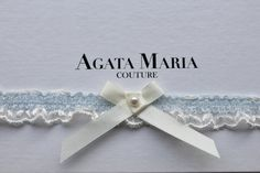 Something Blue Wedding Garter Blue and Ivory by AgataMariaCouture