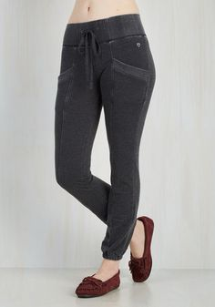 Smoothie Situation Lounge Pants - Grey, Solid, Casual, Knit, Lounge, Fall, Winter, High Rise, Ankle