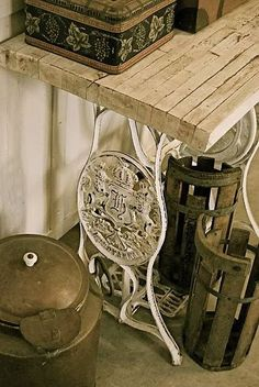 Table with sewing machine legs