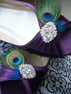These are to die for! Love the peacock feathers and bling combo!