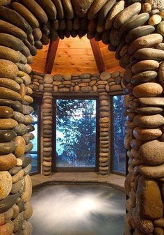 stone hot tub room