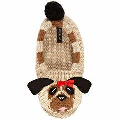 BROWN PUG KNITTED SLIPPER SOCKS Adorable brown pug knitted slipper socks  with a pompom tail and d06b2b06d7