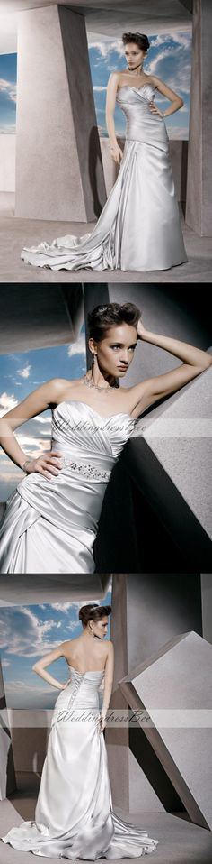 Sweetheart A-line  satin bridal gown
