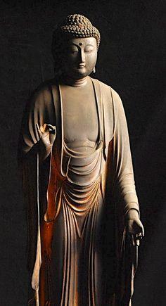 nyorai buddha, sculptures, buddhism, wooden sculptur, buddha japanes, art, amida nyorai, sculptur edo, japanes wooden