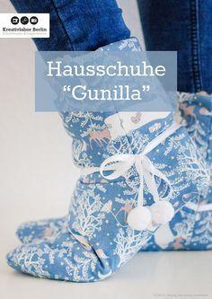 Schnittmuster für kuschlige Hausschuhe: http://www.kreativlaborberlin.de/naehanleitungen-schnittmuster/hausschuhe-gunilla/