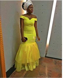 Nigerian Wedding Latest Aso-ebi styles yellow and white