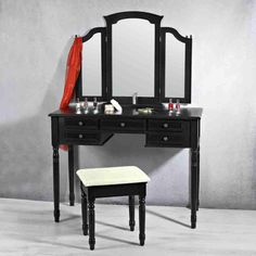 SEN11 Set negru masa toaleta - http://www.emobili.ro/cumpara/sen11-masuta-neagra-toaleta-scaun-oglinda-machiaj-cosmetica-333 #eMobili