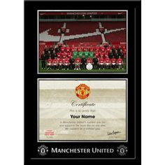 Personalised Manchester United No 1 Fan Certificate  with Team Photo in Contemporary Frame & Presentation Mount  This fantastic keepsake is the perfect gift for any Manchester United fan. Manchester United No 1 Fan Certificate contains a personalised message from Sir Alex Ferguson and includes his replica signature. Presented above the certificate is the official Manchester United squad photo. Manchester United Gifts, Manchester United Legends, Squad Photos, Team Photos, Sir Alex Ferguson, Contemporary Frames, Man United, Gifts For Boys, Certificate