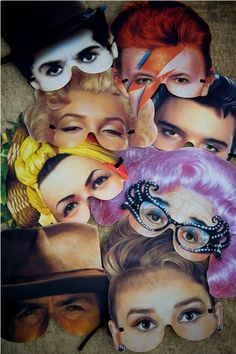 Famous face masks // Funny idea for partys and weddings.