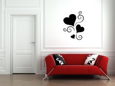 Heart #Love Swirl #Wall Art Vinyl Decal #Sticker Stencil Adhesive Mural Floral by VinylCre8iveDesigns on Etsy