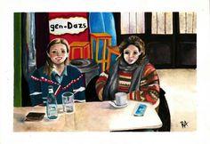 illustration by Raquel Arriola , Pettit comité, friends, coffe, pinzón, reunión, bar, coffe shop, fashion