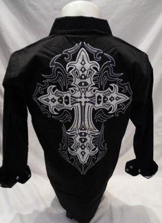 Mens Victorious Cross Faux Leather Button Down Dress Shirt Black Roar With Style Camisa Rock, Chain Stitch Embroidery, Button Down Dress, Victorious, Men's Fashion, Menswear, Men's Shirts, Shirt Dress, Embroidery Ideas