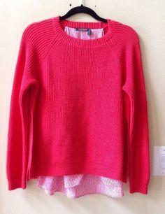 Nwt Ralph Lauren Women's Deco Coral Cotton/Poly Long Sleeve 2fer Sweater Size M #LaurenRalphLauren #Crewneck