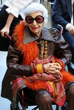 Style icon Iris Apfel arrives at the Metropolitan Museum for the grand opening of the Anna Wintour Costume Center on May 5, 2014.