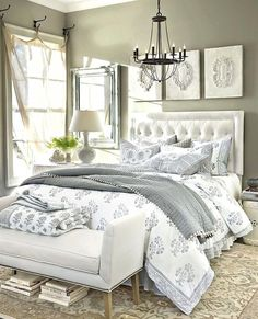 40 Fresh French Country Bedroom Design Style For Romantic Room French Bedroom Decor, Country Bedroom Design, White Bedroom Design, Home Decor Bedroom, Bedroom Romantic, Bedroom Simple, Bedroom Color Schemes, Bedroom Themes, Bedroom Colors