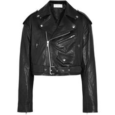 Faith Connexion Cropped leather biker jacket (59.460 RUB) ❤ liked on Polyvore featuring outerwear, jackets, black, coats & jackets, moto jacket, genuine leather jackets, cropped leather jacket, real leather jackets and cropped motorcycle jacket