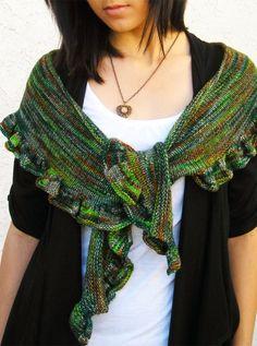 Ruffle Scarf Shawl, Hand Knit Hand Dyed Premium Merino Wool, Green Orange Gray, Colors of Ireland by KnitzyBlonde | Meylah