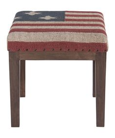 Could make this, old stool, rug, batting,  tacks  Kilim Stool by Rizzy Home on #zulily