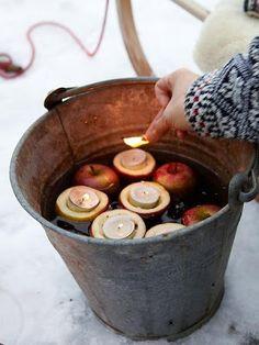 Leuk voor in de tuin met kerst. Maar je kunt zoiets ook in het klein maken voor in huis. Voeg er dan nog een schijfje sinaasappel en een kaneelstokje aan toe voor de geur. Ik zou dan wel beginnen met heet water om de geuren te verspreiden.