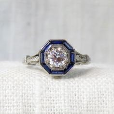 Art Deco 18k Gold Diamond Engagement Ring with Sapphire Halo 1.14 Carats by MagpieVintageJewelry on Etsy