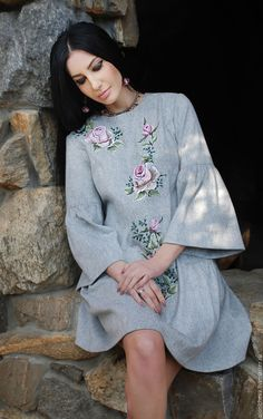 """Buy and order Exclusive embroidered dress in """"Dusty rose"""" on Livemaster online shop. Shipped over Russia and the CIS. Production time: 1 month <br />. Materials: the wool germany, hand embroidery. Dimensions: Sewing by the standards of <br />"""