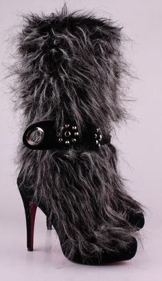 Grey Furry Spiked Heels with Decorated Black and Silver Strap.
