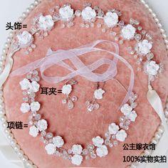 Мода ретро сладкий невесты кристалл полимерная глина цветок украшения для волос ручной ленты ожерелье темперамент серьги из трех частей купить на AliExpress