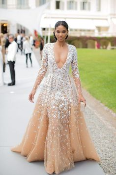 2017 Custom Made Champagne Prom Dress,Long Sleeves Evening Dress, Deep V-Neck Party Gown,Appliques Prom Dress,Plus Size,High Quality
