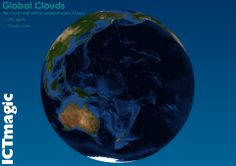 A site showing a near real time look at global cloud cover. See where clouds form as part of a lesson on the water cycle or desertification with this 3D globe.