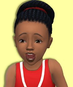 Sims 4   Baby City Bun #Shysimblr natural hair braids hairstyle female child EP03 converted