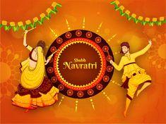 Shubh Navratri festival celebration poster or banner design with - Stock , Navratri Greetings, Navratri Wishes, Happy Navratri, Navratri Recipes, Navratri Festival, Mumbai Street Food, Navratri Images, Durga Goddess, Durga Maa