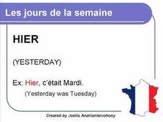 French lesson 5 - Les jours de la semaine (The days of the week) Dias de la semana Clases de Frances