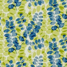 Lunaria - funky retro honesty flower seed pods denim blue green cotton fabric | eBay