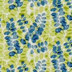 Lunaria - funky retro honesty flower seed pods denim blue green cotton fabric | eBay