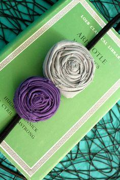 Rolled Rosette Fabric Flower Headband - Grey Purple