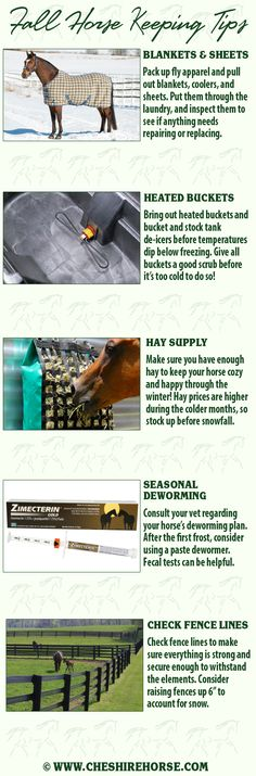 Fall is the time to stow away warmer weather horse keeping supplies and pull out those for colder weather. Take care of these things before frigid temperatures, snow, and ice enter the equation.